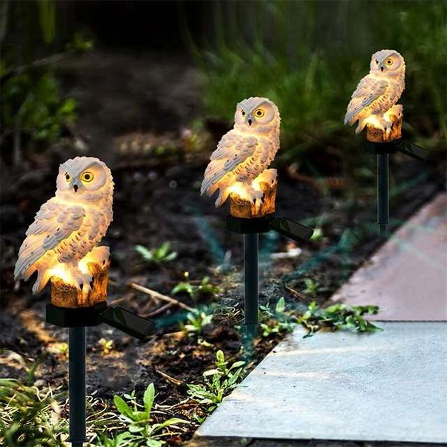 Novelty Solar Garden Lights Owl Solar LED Lawn Lights Outdoor Lawn/Path/Street/Underground Light Ornament LED Decor Sculpture