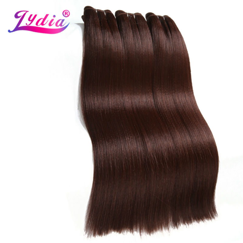 Lydia Synthetic Hair Extension 3Pieces/lot Straight Yaki Weaving 10-26 Inch Pure Color 33# 100% Futura Hair Bundles