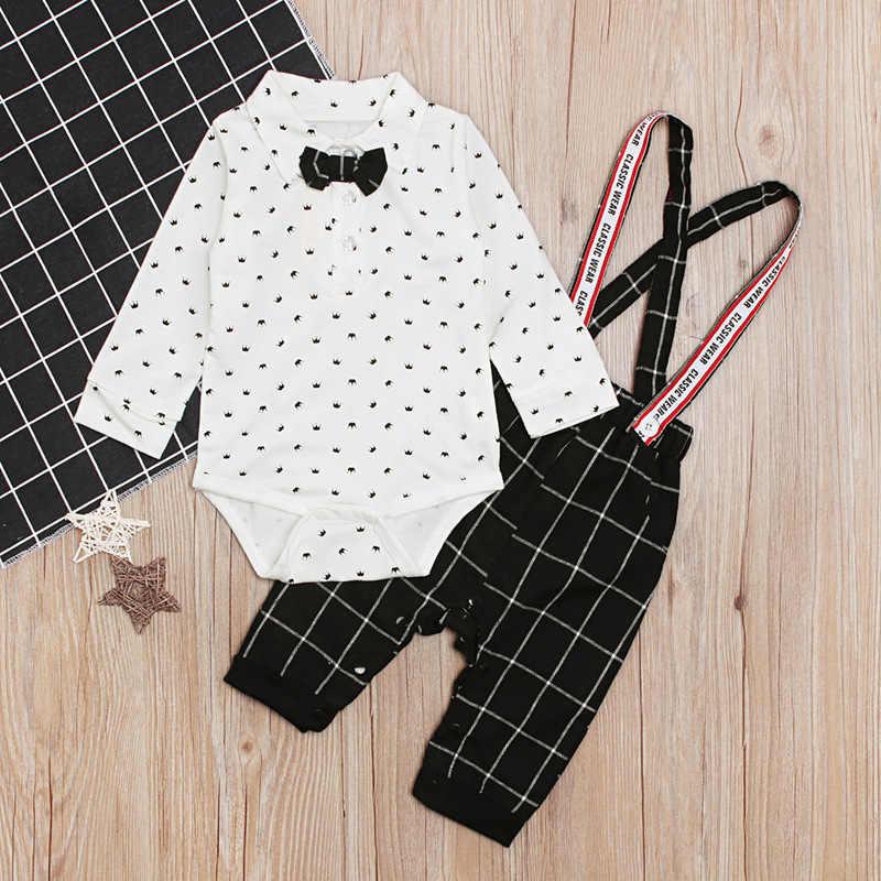 Одежда с длинными рукавами для маленьких мальчиков 2019 г., комплект для новорожденных, одежда для малышей хлопковый Белый боди + черный комбинезон комплект из 2 предметов для детей от 6 до 24 месяцев