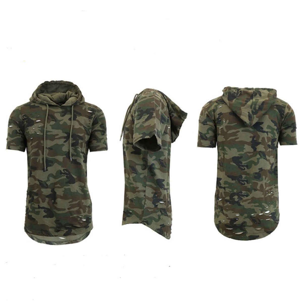 2018 짧은 소매 후드 티 패션 슬림 후드 티 셔츠 남성 힙합 까마귀 남성 랩퍼 조끼 탑 camisa masculina clothes
