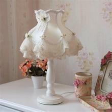 Modern Lace Fabric LED Table Lamps Led Desk Lights Living Room Bedroom Bedside Lamp Princess Home Lighting Fixtures