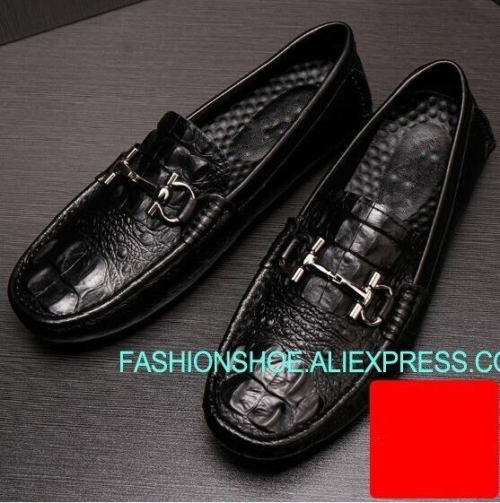 Mocassins en cuir de Crocodile chaussures pour hommes talon plat loisirs de plein air chaussures de conduite taille 45Mocassins en cuir de Crocodile chaussures pour hommes talon plat loisirs de plein air chaussures de conduite taille 45
