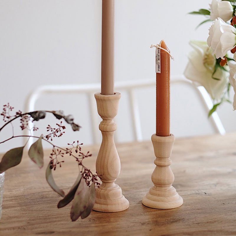 Unfinished Candlesticks Holders, Retro Unpainted Wood Classic Craft Holders Wedding Decorations 6.88 x 2.48 /1.96