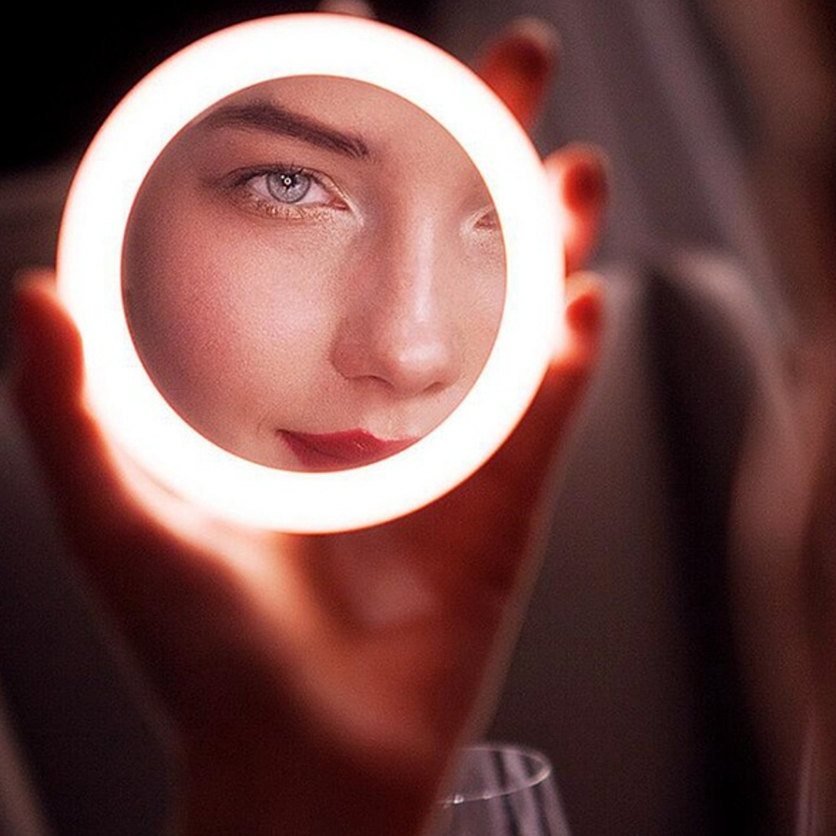 Portable LED Lighted Mini Circular Makeup Mirror