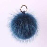 Большой из енота, лисы меховой шарик пушистый брелок для ключей сумка Подвеска ювелирные изделия автомобильный держатель для ключей цепи п...