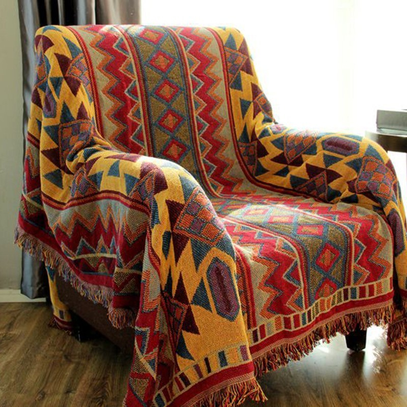 Summer Knitted Blanket Yellow Ethnic Geometric Pattern Three BohemianThrow Blankets For Sofa Air-conditioned Room Two SidesSummer Knitted Blanket Yellow Ethnic Geometric Pattern Three BohemianThrow Blankets For Sofa Air-conditioned Room Two Sides