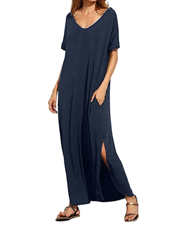Для женщин Летнее пляжное платье хлопок Повседневное свободные пикантные однотонные v-образным вырезом короткий рукав макси Длинные вечер...