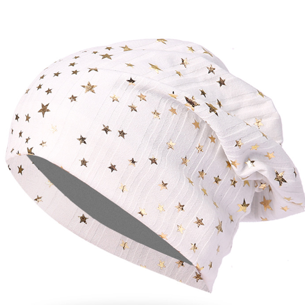 Women Casual Bonnet Covers Hat Cap Skullcap Stars Stacking Knitted