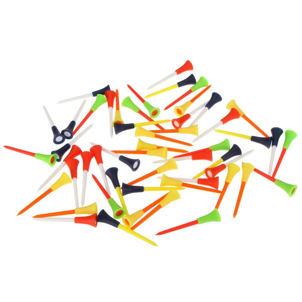 50pcs 83mm Multi Color Plastic Golf Tees Rubber Cushion Top Golf Equipment