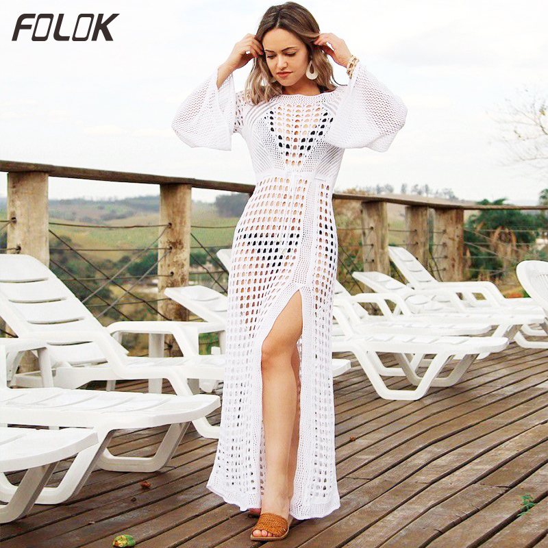 2019 Crochet Tunic Beach Dress Cover ups Summer Women Beachwear Sexy Hollow Out Knitted Swimsuit Cover