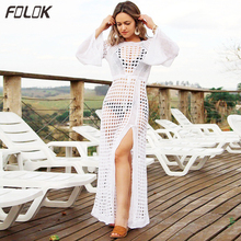 2019 Crochet Tunic Beach Dress Cover-ups Summer Women Beachwear Sexy Hollow Out Knitted Swimsuit Cover Up Robe de plage