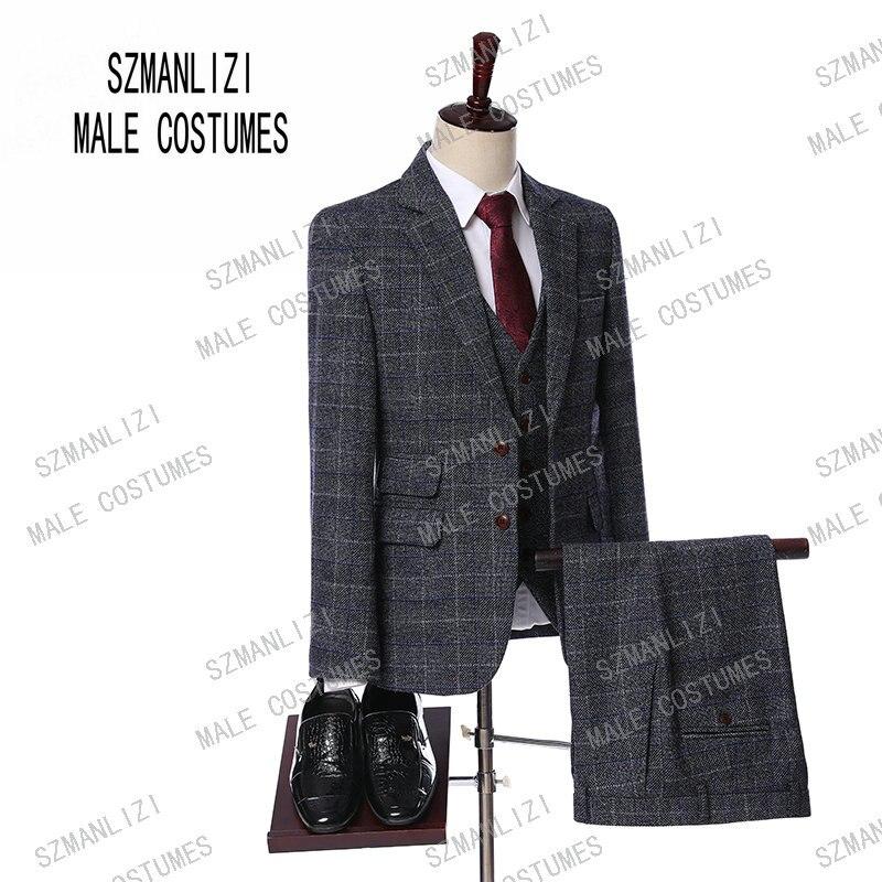 Gris hombres Slim FIt un botón de 3 piezas trajes chaqueta con pantalones  2019 nueva boda 6203b887e69