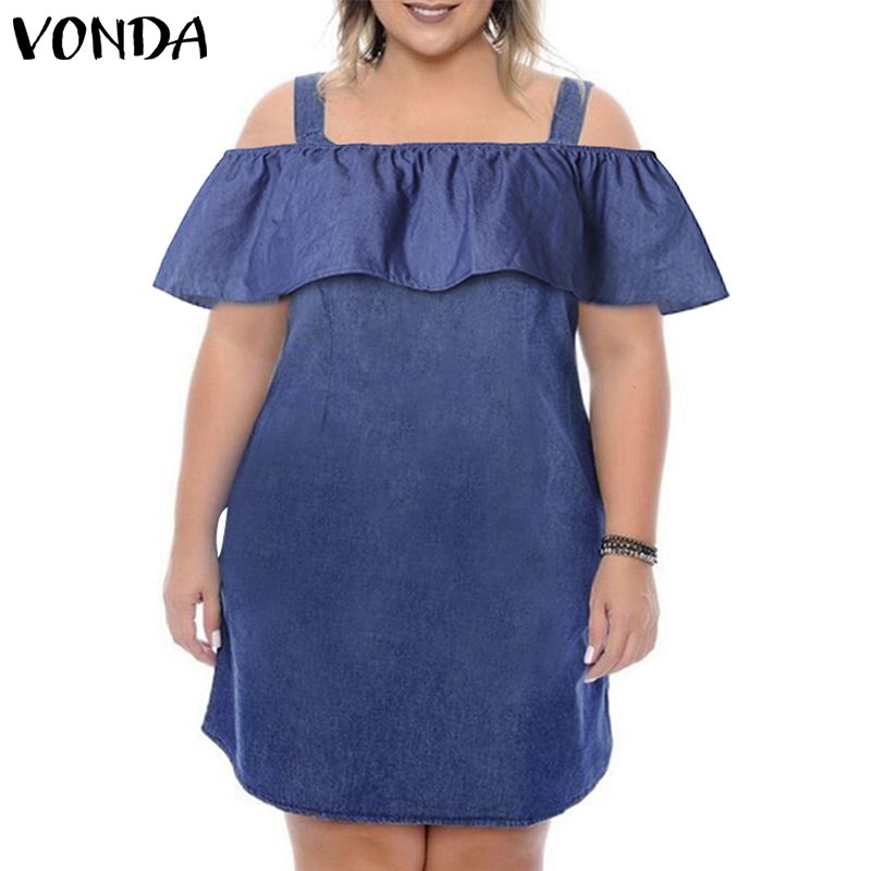 Summer Denim <font><b>Dress</b></font> 2019 VONDA Women <font><b>Sexy</b></font> Off Shoulder Party Ruffle Mini <font><b>Dress</b></font> Casual Short Sundress Plus Size Vestido Female <font><b>5XL</b></font> image