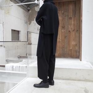 Image 4 - [EAM] 2020 New Spring Autumn High Collar Long Sleeve Black Irregular Stitch Big Size Long Knitting Sweater Women Fashion JL734