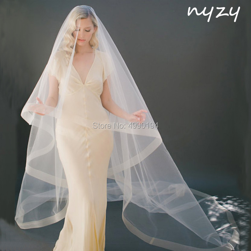 NYZY V5 Real 3m Long Champagne Cathedral Veil Wedding Veil Bridal Veil No Comb 1 Layer Wedding Accessories Velo Voile 2019