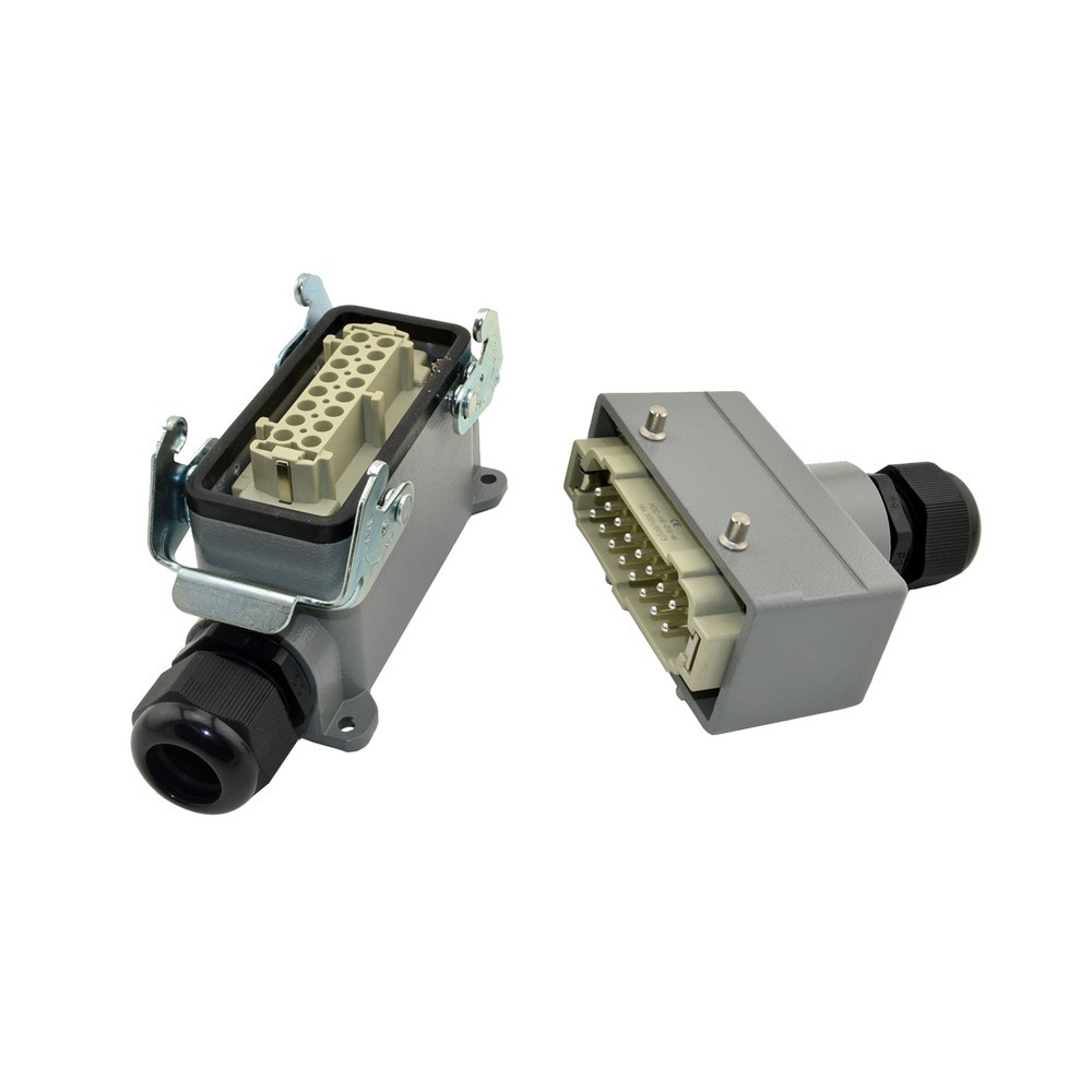 HE-016-4 Plastic Screw Industrial Heavy Duty 400 Volt Wire Connector Harting Heavy Duty Connector