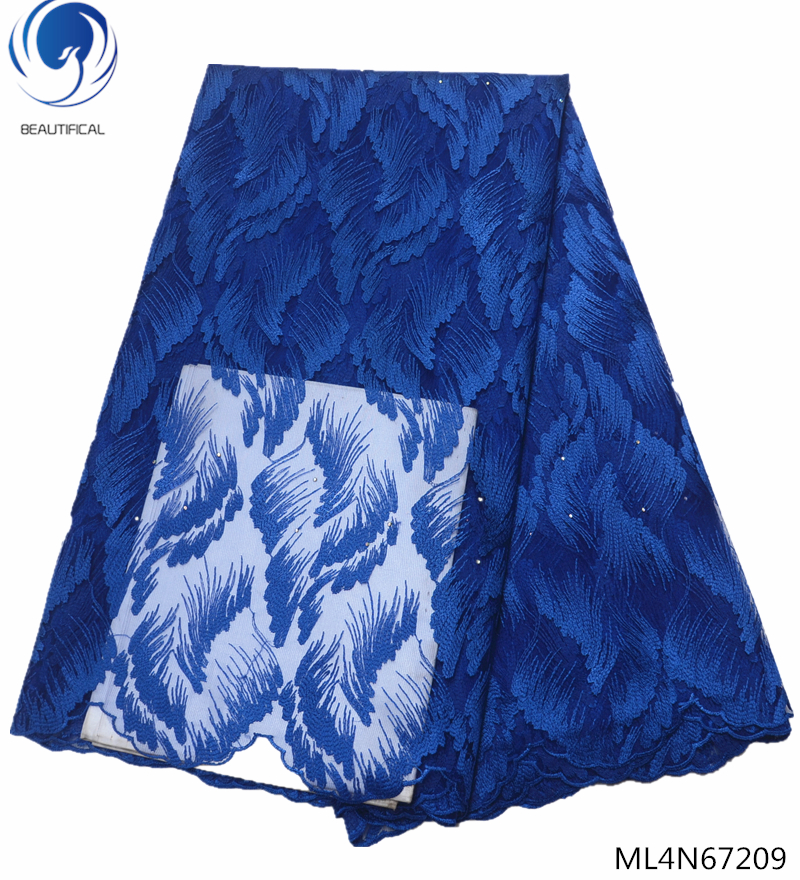 BEAUTIFICAL blue lace french tulle fabric 5 yards with stones embroidery african tulle french lace ML4N672 in Lace from Home Garden