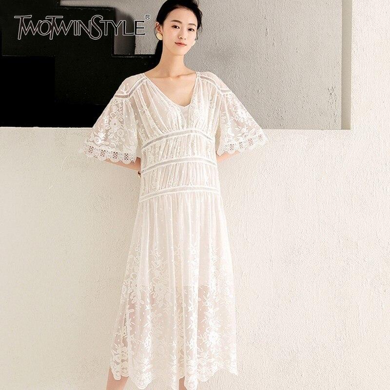 213ccd146 White Elegantes Twotwinstyle Mujeres Las Perspectiva Larga La Media De  Manga Vestido Patchwork V Hueco Cuello Bordado Vestidos ...