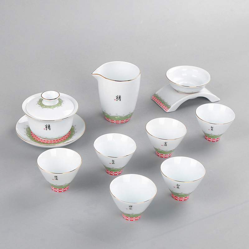 Tea Dehua White Porcelain Trace A Design In Gold Tea Set Suit Small Fresh Concise 6 Cup To Work In An Office Household Tea SetTea Dehua White Porcelain Trace A Design In Gold Tea Set Suit Small Fresh Concise 6 Cup To Work In An Office Household Tea Set
