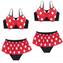 цена на Summer child kid girl two-piece swimsuit red cute red polka dot bow tankini swimsuit