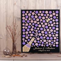 3d wedding guest book alternative Champagne wood sign In Wisteria ,custom Rustic guestbook Wedding bubbles Aniversary ideas