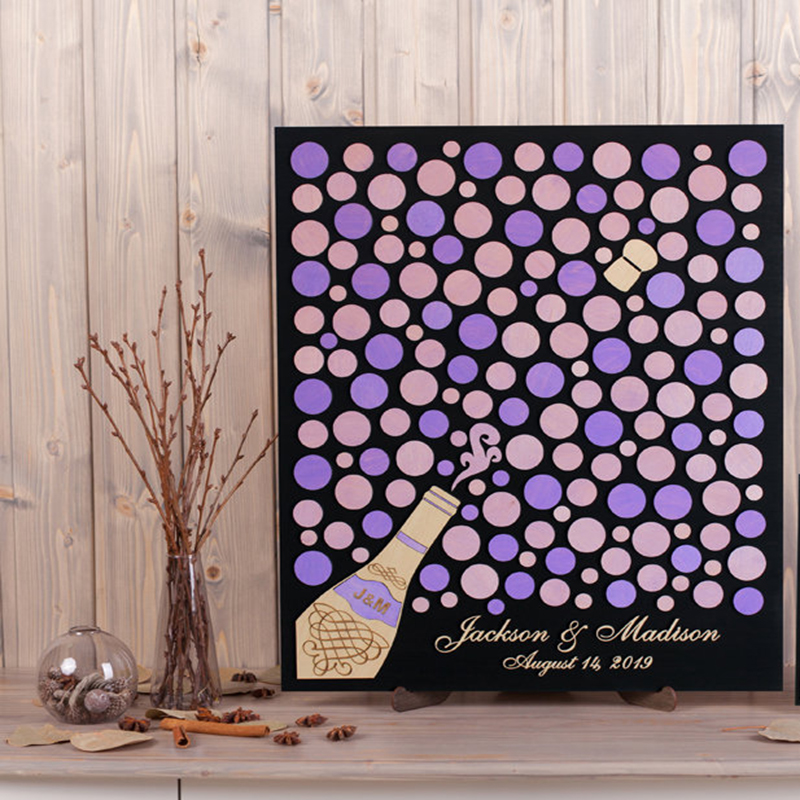 Wedding Guest Sign In Ideas: 3d Wedding Guest Book Alternative Champagne Wood Sign In