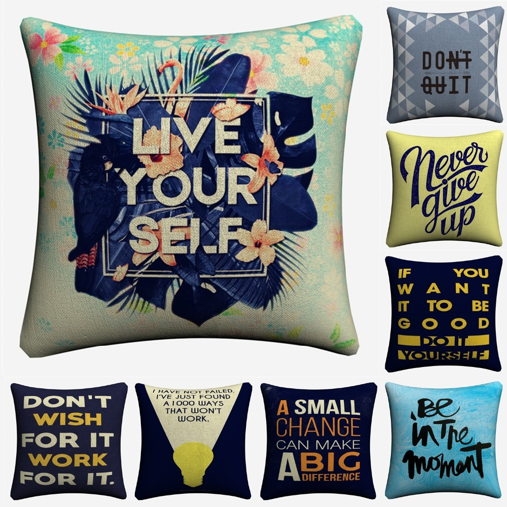 US $5 38 OFF Never Give Up Motivation Quote Decorative Linen Cushion Covers For Sofa 45x45cm Throw Pillow Case Home Decor Pillowcase Almofada in
