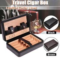 Leather Cigar Humidor Case Box Storage Organizer 4 Slots Cedar Wooden Lined Portable Travel Smoking Cigar Accessories Gifts