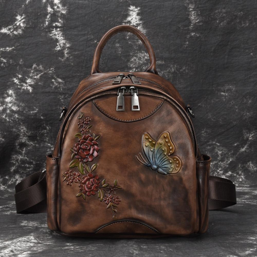 High Quality Natural Skin Women Backpack Brush Color Knapsack Travel Bag Embossed Retro Girls Daypack Genuine
