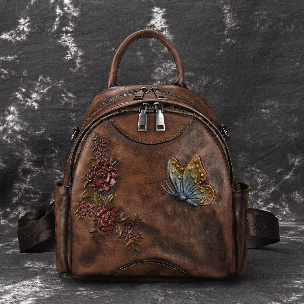 Wysokiej jakości skóra naturalna kobiety plecak szczotka kolor plecak torba podróżna tłoczone Retro dziewczyny plecak na co dzień plecak ze skóry naturalnej w Plecaki od Bagaże i torby na  Grupa 1