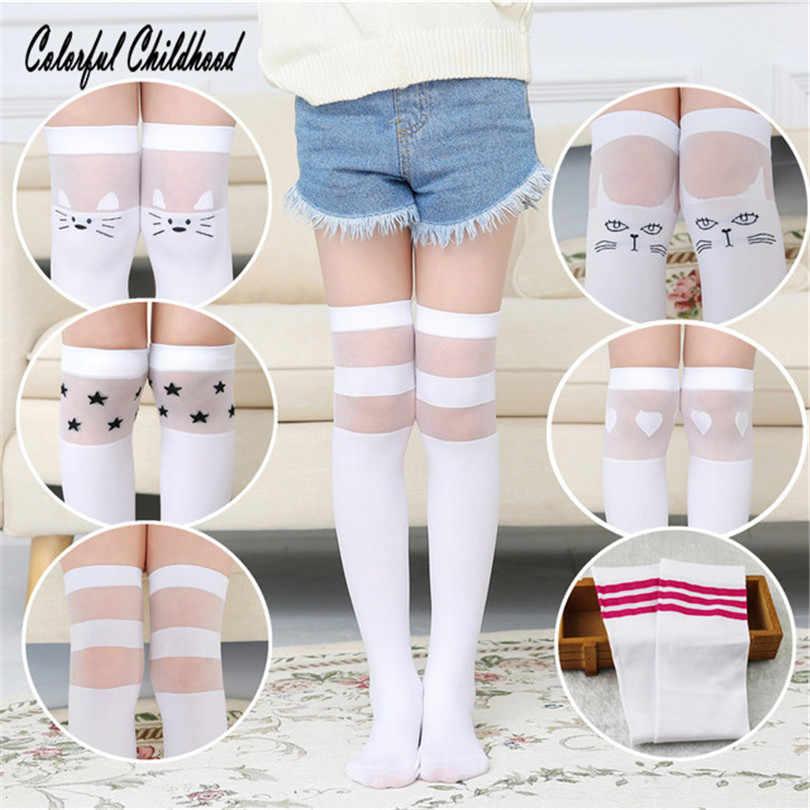 97e4bf9aa85f2 Summer Girls Socks Lovely Cat Pattern Printed Pure Cotton Knee-high Socks  Big Girls Summer