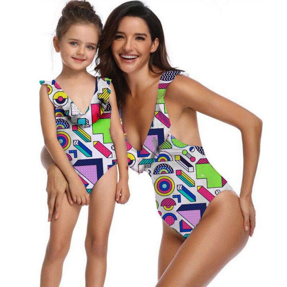 Family Matching Swimsuit Women Kids Girls One-piece Swimwear Beachwear Bathing Suit