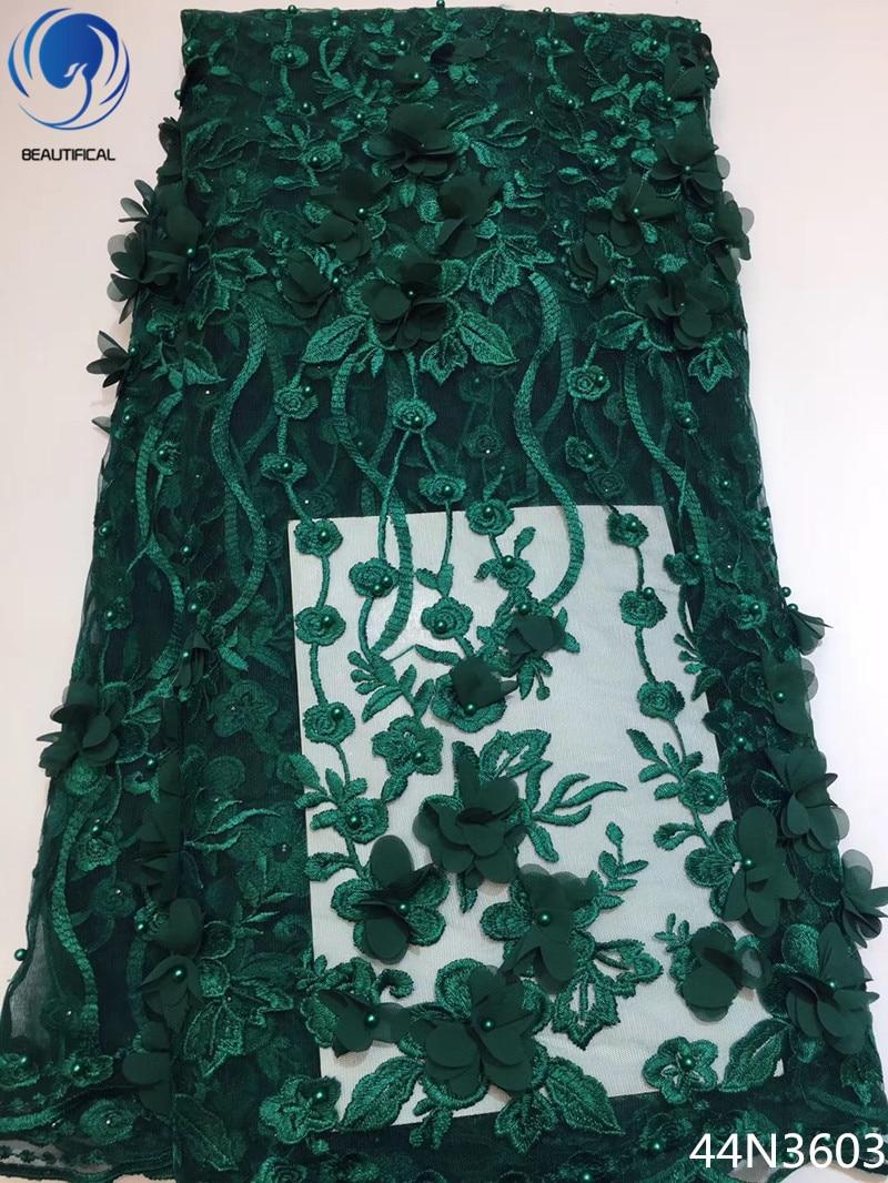 Beautifical Vert 3d dentelle tissu français dentelle net tissus africain tissu en dentelle de tulle de mariage tissu avec perles 5 yards/ pièce 44N36