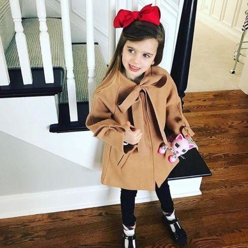 2019 Brand New Fashion Infant Kid Baby Girl Woolen Overcoat Winter Wool Coat Bow Long Sleeve Brown Slim Warm Outwear Jacket 2-8T girl