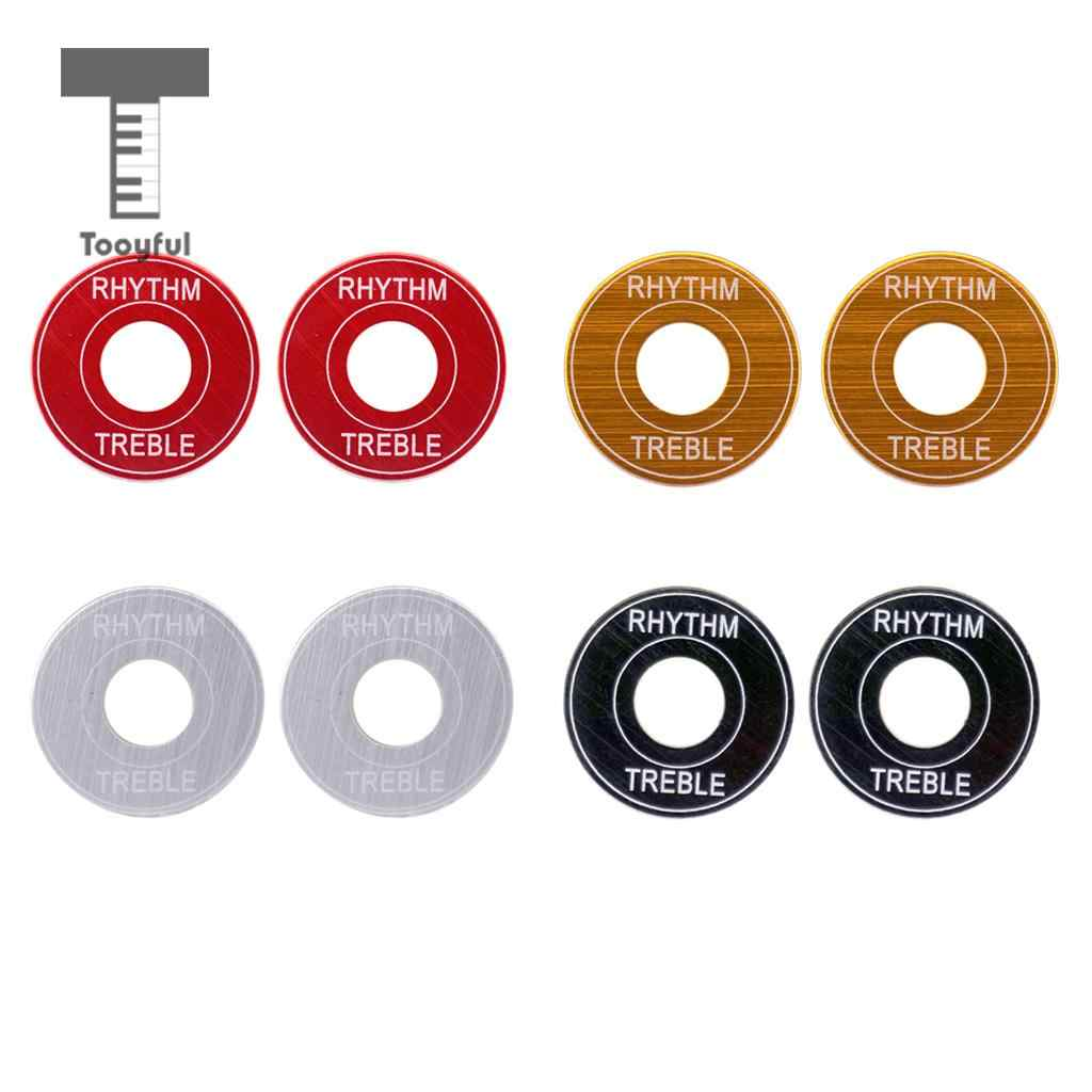 Tooyful Pack of 2 Guitar Toggle Switch Plates Washers Rythm Treble Rings DIY for LP Electric Guitar Replacement Parts