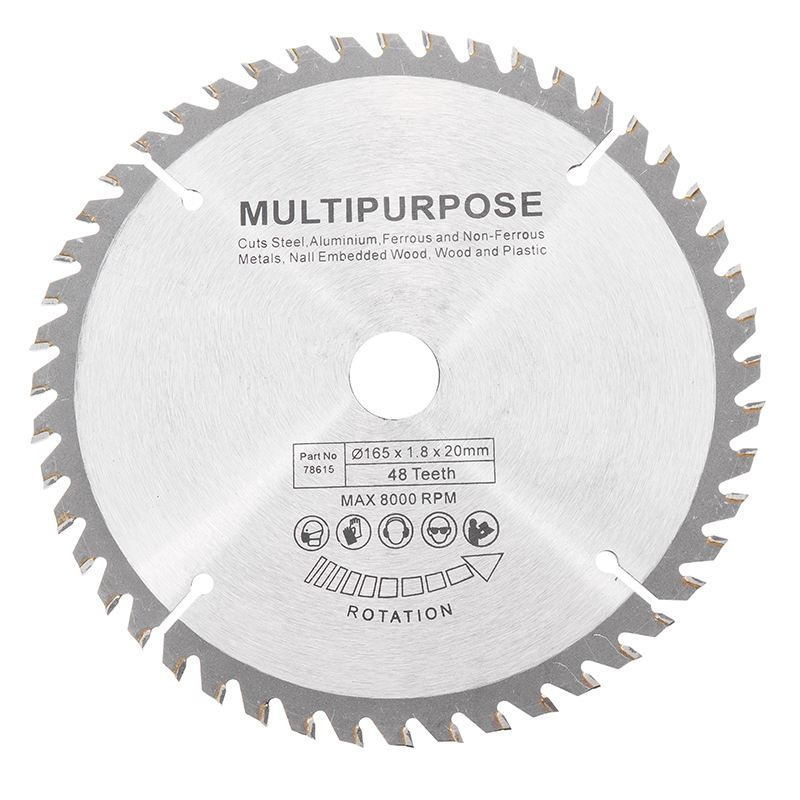 165x20mm 48Teech TCT Hard Alloy Saw Blade For Wood Metal Multi-functional Circular Saw Blade For Cutting Wood And Metal Tool