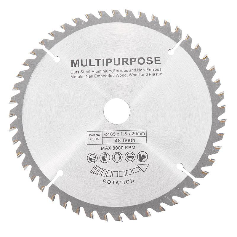 165x20mm 48Teech TCT Hard Alloy Saw Blade For Wood Metal Multi-functional Circular Saw Blade For Cutting Wood And Metal Tool