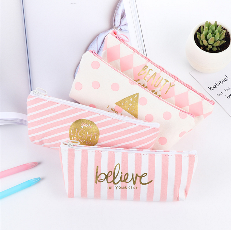 Ellen Brook 1 Piece New Fashion Fresh Pink Canvas Pen Pencil Bag Canvas School Office Stationary Receive Black Tools Case