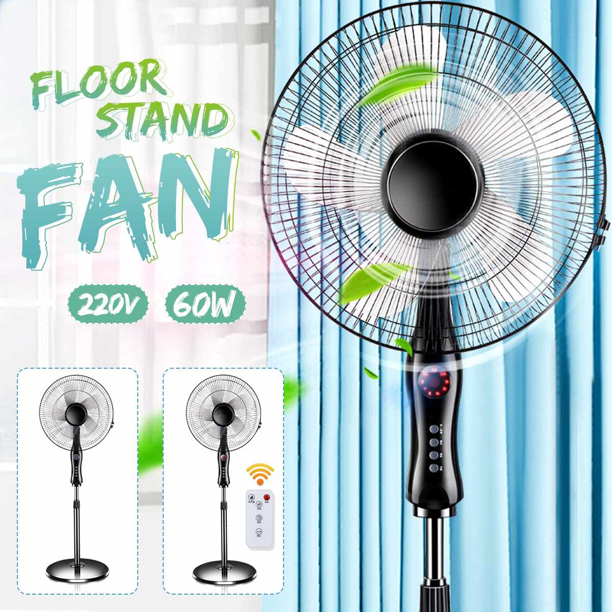 16 Inch Floor Fan Stand Fan Mechanical Remote control Air Cooler Summer Cooling Household Floor Standing