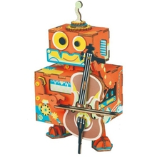 Robotime Diy Robot Little Performer Wooden Movable Music Box Clockwork Type Home Decor Beauty Gifts For Children Friends Amd53