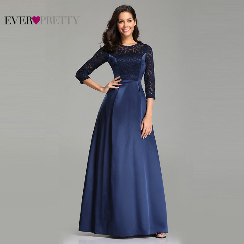 Navy Blue   Prom     Dress   Long Sleeve Ever Pretty Elegant A Line O Neck Lace Formal Party Evening Gown Satin   Dress   Vestido De Gala