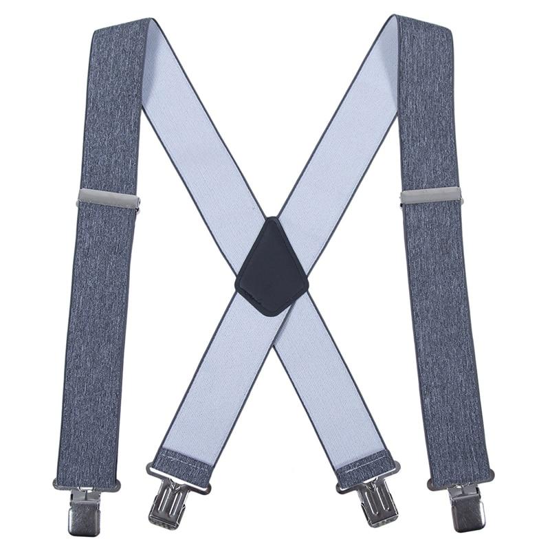 New Men Suspenders Pure Color X-Back Trousers Braces Strong 4 Clip 5cm Wide Belt