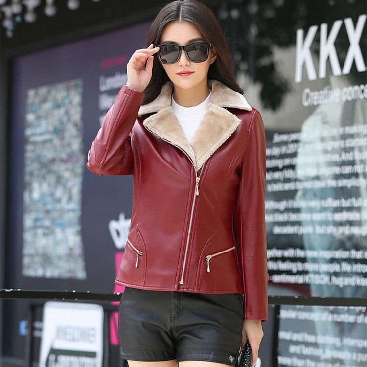 2018 PU   Leather   Winter Jacket Women Warm Faux Fur Fur Collar Motorcycle Coat Slim Pocket Black Jacket