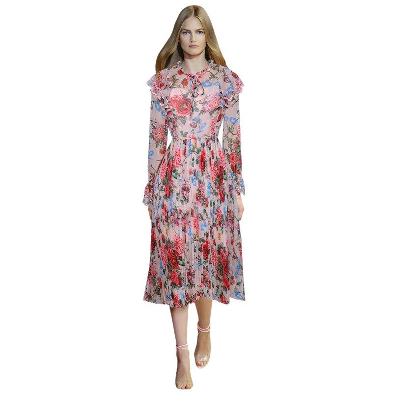 1a6baedc7d309 Piste À Mode Brodé Volants Décontractée Tenue Floral De 2019 Femme Multi  Femmes Manches Col Soie Mousseline D été Longues Imprimé Robe Vêtements  4Pn4Sr5xwq