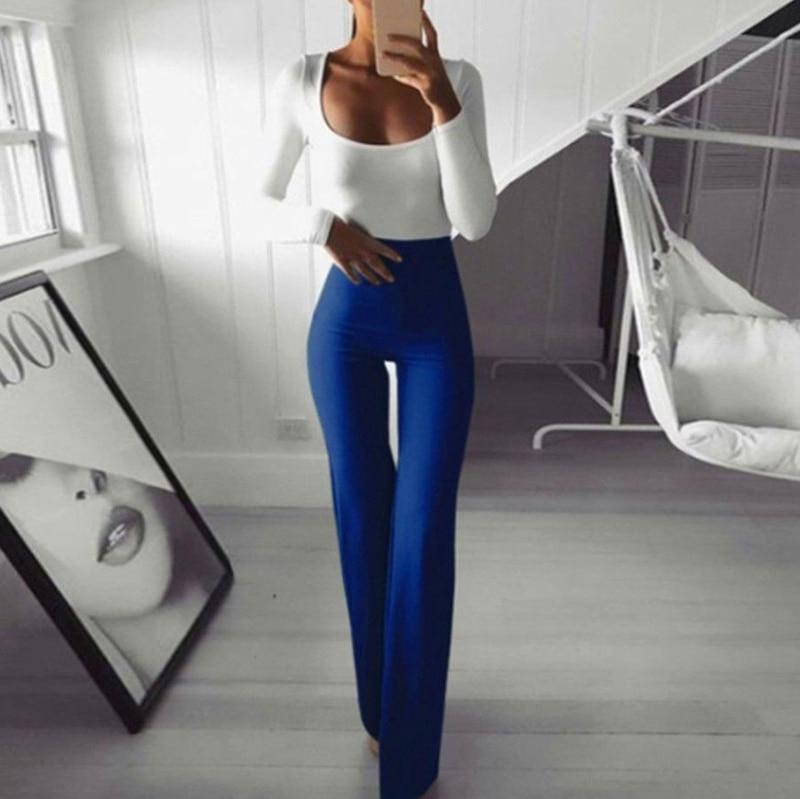 Womens High Waist Plain Palazzo Wide Leg Flared Ladies Plain Trousers OL Pants