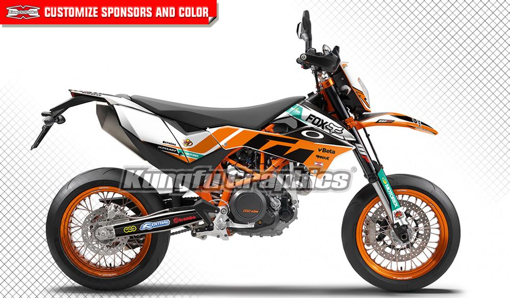 KUNGFU GRAPHICS Complete Vehicle Wraps Custom Vinyl Stickers Kit for KTM 690 SMC R SMC R