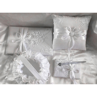 1pc White Classic Wedding Kits Flower Basket Ring Pillow Sign Book Pen Unique Style Decoration Special Souvenirs For Newlyweds