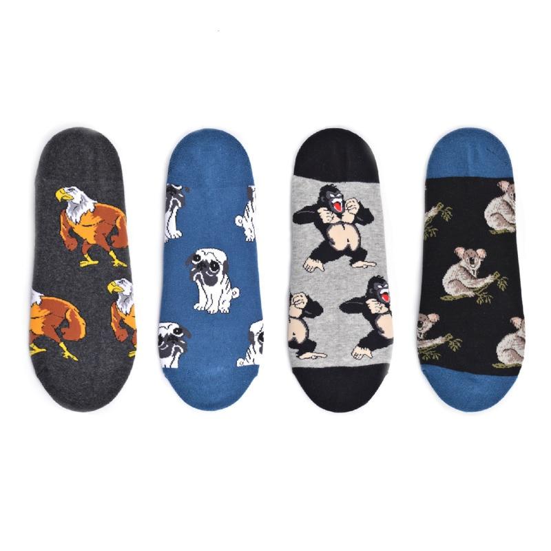 PEONFLY Korean Harajuku Boat Socks Men Funny Cartoon Animals Dog Koala Eagle Happy Socks Non Slip Invisible Sock