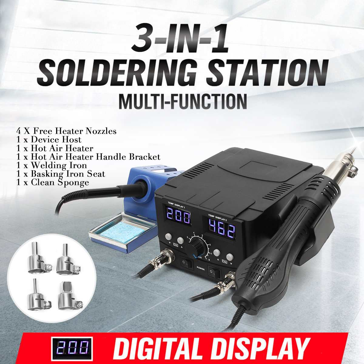 750W 110V LCD Rework Soldering Station 8582D Electric Hot Air Gun Heater SMD Desoldering Iron Station Solder Welding Machine750W 110V LCD Rework Soldering Station 8582D Electric Hot Air Gun Heater SMD Desoldering Iron Station Solder Welding Machine