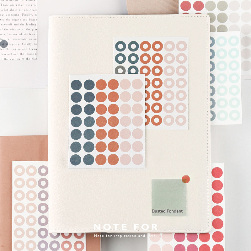 SIXONE 3 Sheets Hand Account Decoration Sticker Solid Color And Paper Basics Source Material Circle Point Concise stationery